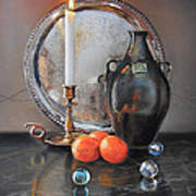 Vanitas Still Life By Candlelight With Clementines 1 Art Print