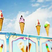 Variety Of Ice Cream Sculptures On Cart Art Print