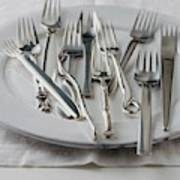 Various Forks On A Plate Art Print