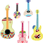 Various Kinds Of Stringed Instruments Art Print