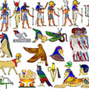 Various Themes Of Ancient Egypt Print by Michal Boubin