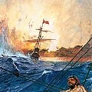 Vasco Da Gama's Ships Rounding The Cape Art Print by English School