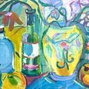 Vase And Bottles In Still Life Art Print