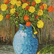 Vase Of Marigolds Art Print