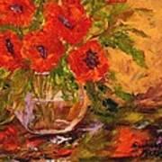 Vase Of Poppies Art Print by Barbara Pirkle