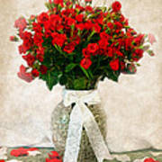 Vase Of Red Roses Art Print