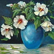 Vase Of Rose Of Sharons Art Print by Jolyn Kuhn