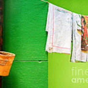 Vase Towels And Green Wall Art Print