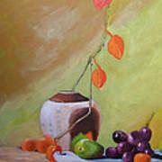 Vase With Orange Leaves And Fruit Art Print