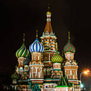 Vasily The Blessed Cathedral At Night - Featured 3 Art Print