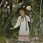 Vassilissa In The Forest Art Print by Ivan Bilibin