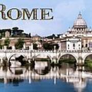 Vatican City Seen From Tiber River Text  Rome Art Print