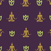 Vector Design Yoga Pose Pattern Art Print