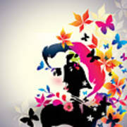 Vector Floral Girl Art Print