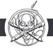 Vector Illustration Of A Black Skull Art Print