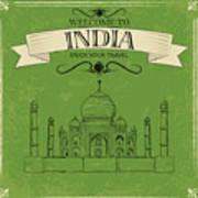 Vector Illustration Of Taj Mahal Of Art Print