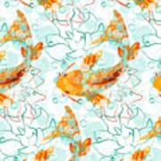 Vector Seamless Pattern With Koi Fish Art Print