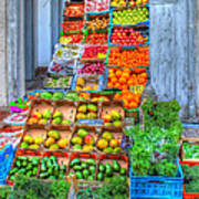 Vegetable And Fruit Stand Art Print