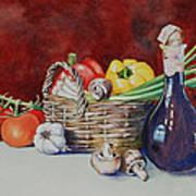 Vegetable Basket With Wine Vinegar Art Print