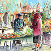 Vegetables Seller In A Provence Market Art Print