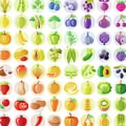 Vegetarian Rainbow Withe Fruits Art Print