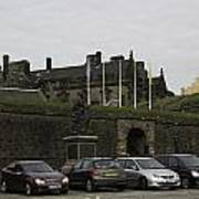 Vehicles At The Parking Lot Of Stirling Castle Art Print