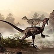 Velociraptors Prowling The Shoreline Art Print