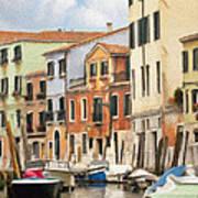 Venetian Apartments Impasto Art Print