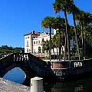 Venetian Style Bridge And Villa In Miami Art Print