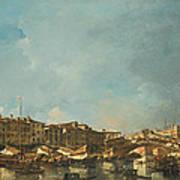 Venice A View Of The Rialto Bridge Looking North From The Fondamenta Del Carbon Art Print
