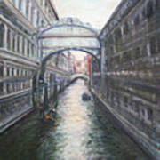 Venice Bridge Of Sighs - Original Oil Painting Art Print