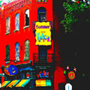 Venice Cafe' Painted And Edited Art Print