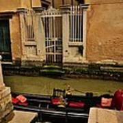 Venice Canal Gondola Awaits Art Print