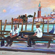 Venice Gondola With Full Moon Art Print