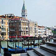 Venice Gondolas On Canal Grande Art Print
