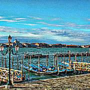 Venice Gondolas On The Grand Canal Art Print