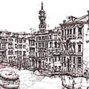 Venice In Pen And Ink Art Print