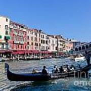 Venice Italy Gondola With Tourists Floats On Grand Canal Art Print