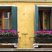 Venice Italy Teal Shutters Art Print