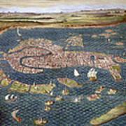 Venice: Map, 16th Century Art Print