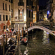 Venice Night By The Canal Art Print