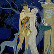 Venus And Adonis  Art Print by Georges Barbier
