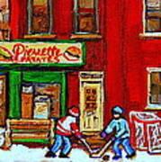 Verdun Art Winter Street Scenes Pierrette Patates Resto Hockey Painting Verdun Montreal Memories Art Print by Carole Spandau