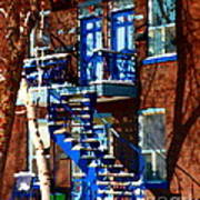 Verdun Duplex Stairs With Birch Tree Montreal Winding Staircases Winter City Scene Carole Spandau Art Print
