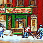 Verdun Hockey Game Corner Landmark Restaurant Depanneur Pierrette Patate Winter Montreal City Scen Art Print by Carole Spandau