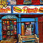 Verdun Restaurants Pierrette Patates Pizza Poutine Pepsi Cola Corner Cafe Depanneur - Montreal Scene Art Print