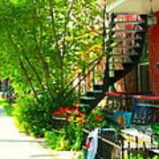 Verdun Stairs Red Flowers On Winding Staircase Tall Shade Tree Montreal Summer Scenes Carole Spandau Art Print