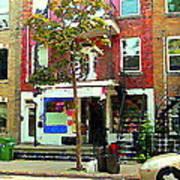 Verdun Variety Store Summer Street Scene Montreal Depanneur Double Staircases Carole Spandau Art Print