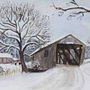 Vermont Covered Bridge In Winter Art Print