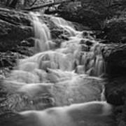 Vermont Forest Waterfall Black And White Art Print